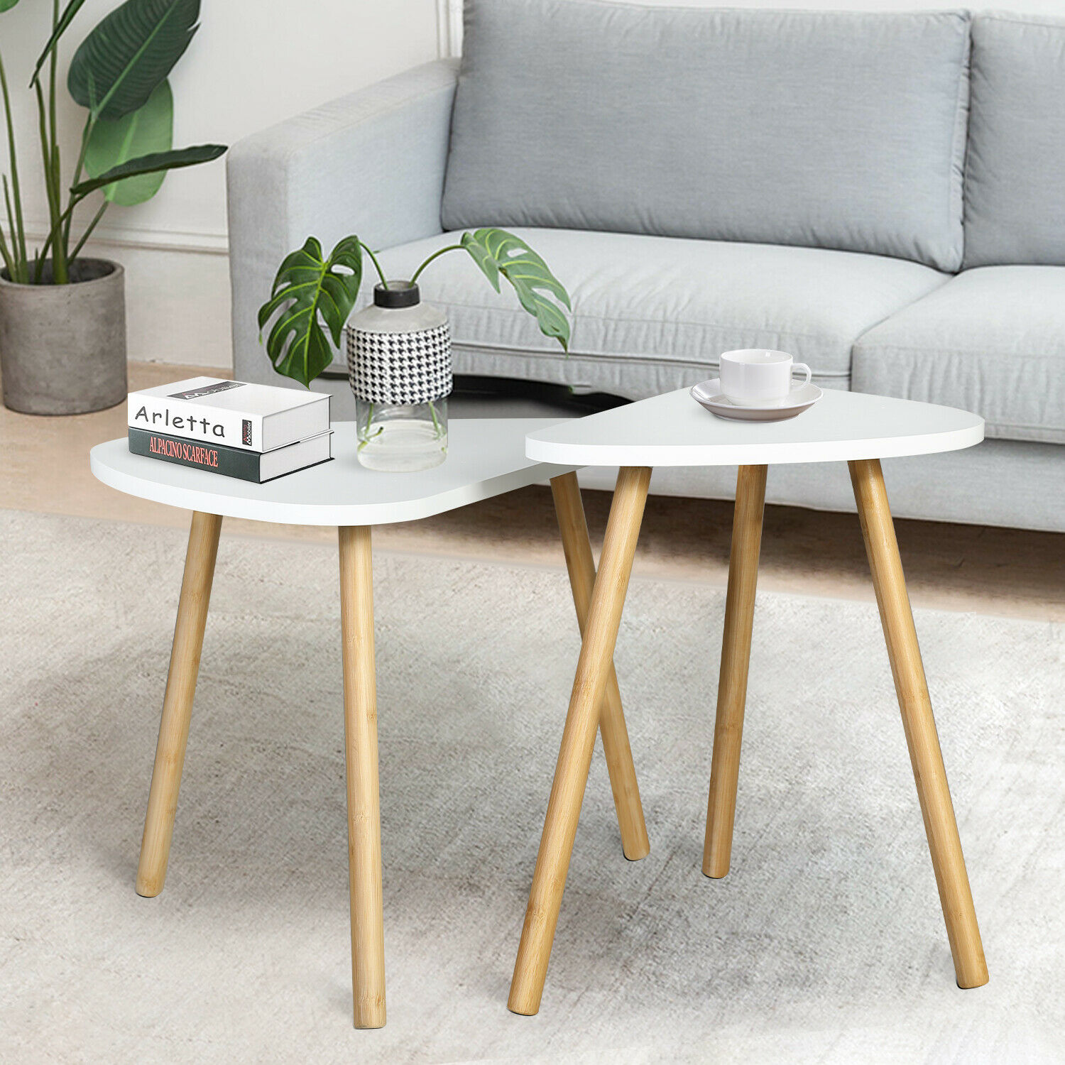 Side Table Set of 2, Bamboo End Table for Living Room Side Table for Bedroom