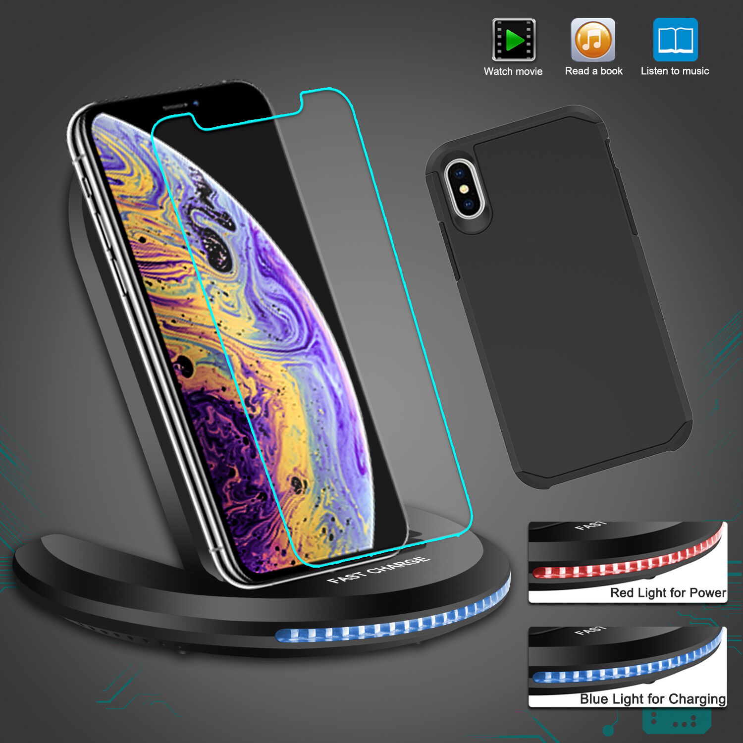 For iPhone XR / XS Max / X Qi Wireless Fast Charger Charging