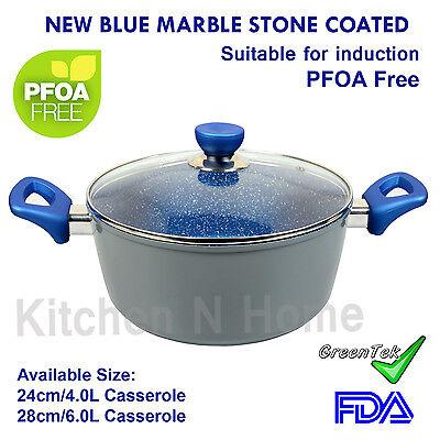Non-Stick Casserole, Blue Stone Coated✪Pan✪Induction✪Ceramic✪Cookware✪Dutch Oven