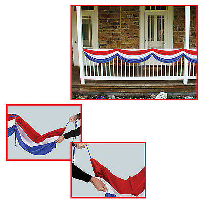Patriotic Fabric Red White Blue Bunting Decoration 4th of July](Blue Bunting Fabric)