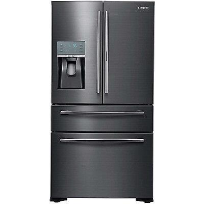 SAMSUNG 22 Black Stainless French 4 Door Counter Depth Refrigerator RF22KREDBSG