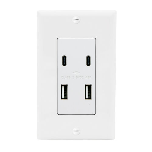 Maxxima 4.8A USB C/A High Speed 4 USB Wall Outlet Vertical Ports Wall Plate Incl
