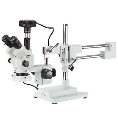 7x-45x Simul-focal Stereo Zoom Microscope On Boom Stand Fluorescent Light 10
