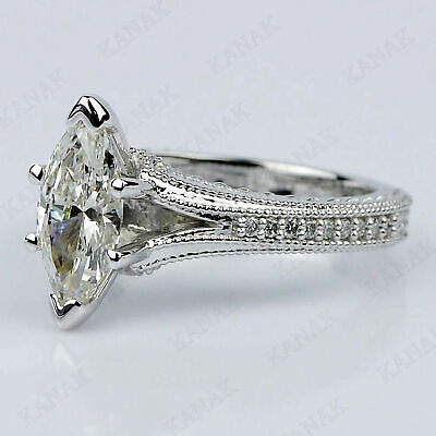 10K White Gold 1.50 CT Marquise Cut&Lab-created Diamond Engagement Ring for sale  Shipping to South Africa