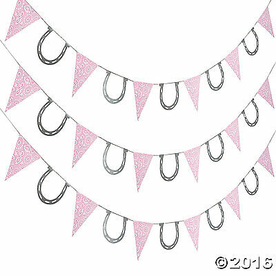 Pink Bandana Cowgirl Pennant Banner with Horse Shoes 7FT. Cowgirl Pony Party - Pink Bandana Paper