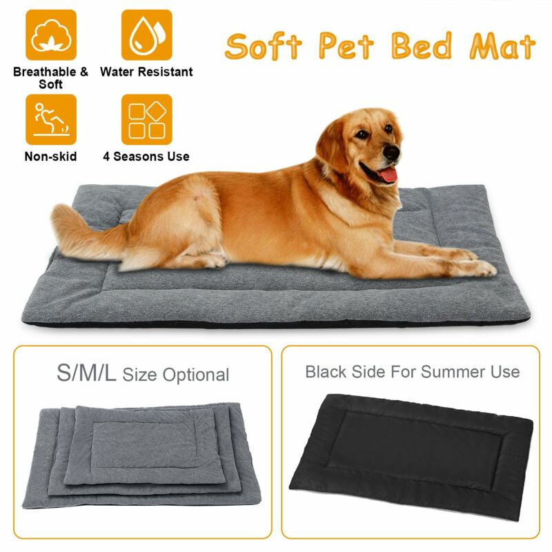 Dog Bed Mat Fleece Pet Dog Crate Carpet Reversible Pad Cushion For S/M/L Dogs