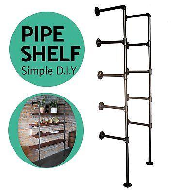 Industrial Wall Shelf Pipe Ceiling Shelves Vintage Hang Bracket Bookshelf DIY