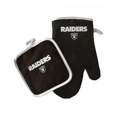 Football Raiders Oven Mitt and Pot Holder Set Tailgate BBQ Licensed  Raiders Barbecue Set