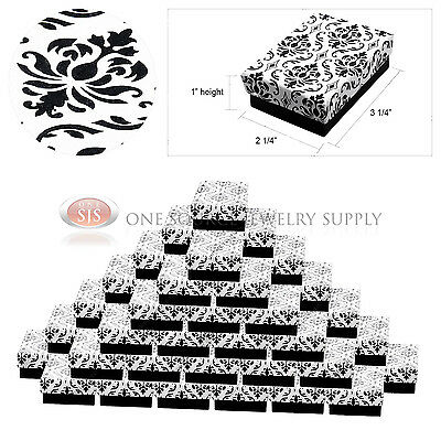 50 Damask Print Gift Jewelry Cotton Filled Boxes 3 14 X 2 14 X 1 Bracelets