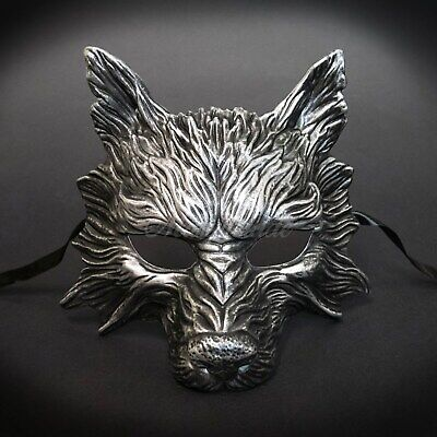 Wolf Animal Masquerade Mask, Men's Masquerade Mask, Halloween Silver Black - Halloween Animal Masks