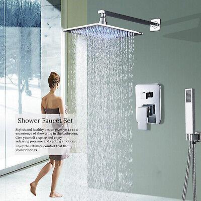 Chrome Bath Shower Faucet Combo Set 8 Inch LED Rainfall  Shower Mixer Tap Bath Shower Faucet