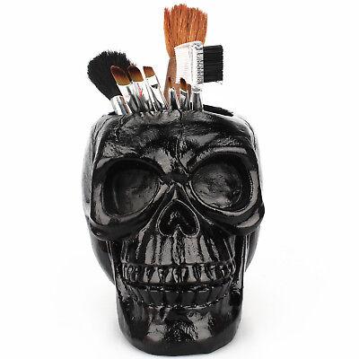 Skull Makeup Brush Holder Pen Storage Vanity Office Organizer Skeleton Ornament (Make Up Skull)