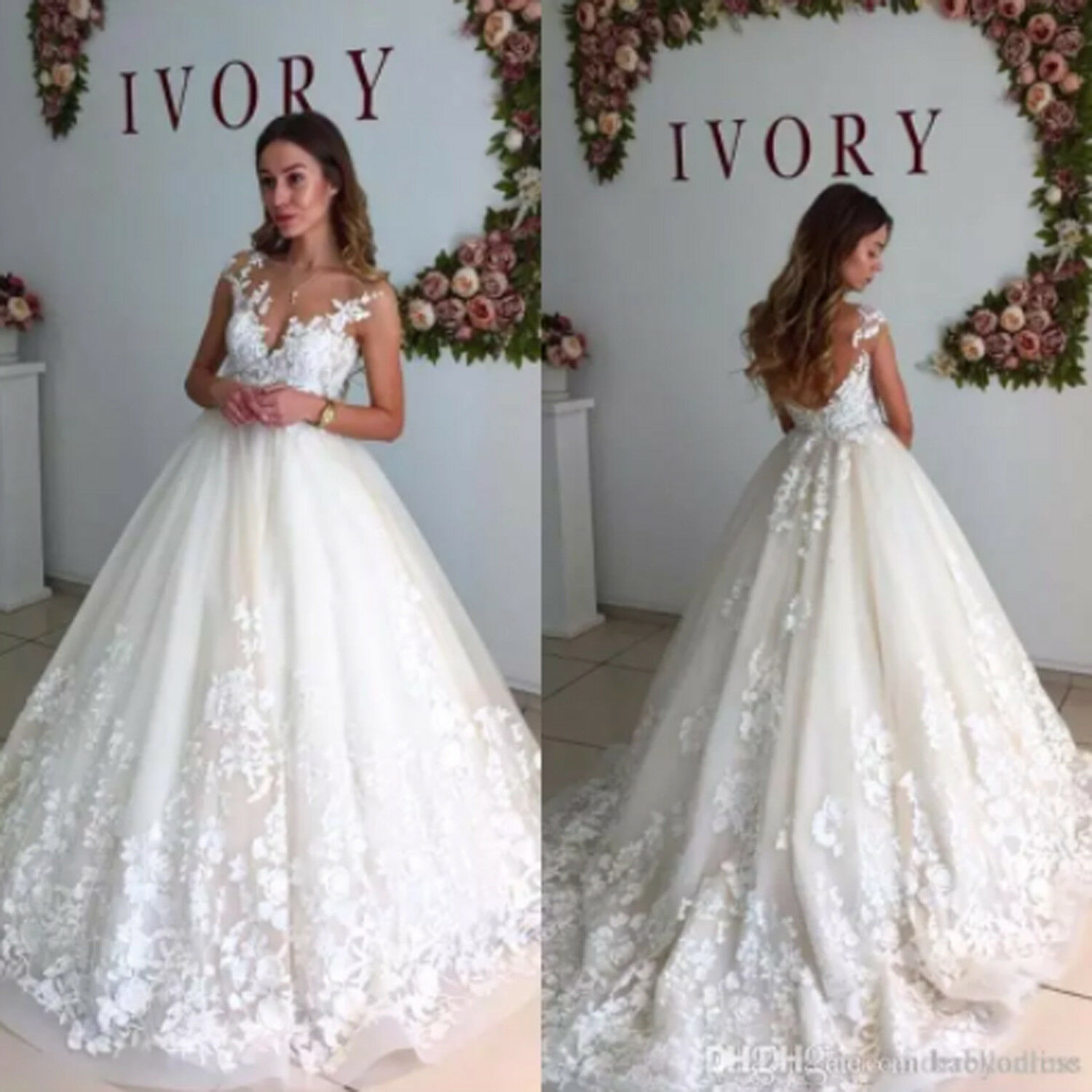 b4176e4357 Details about Lace Cap Sleeves Maternity Wedding Dresses Sheer Neck A Line  Pregnant