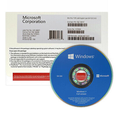 Windows 7 Professional SP1 X64 Bit DVD and Product Key - Sealed - FREE SHIPPING