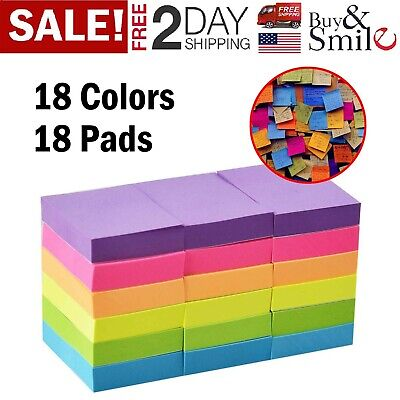100 Self Adhesive Sticky Notes Memo Reminder Neon Assorted Colors Sheets 18 Pads