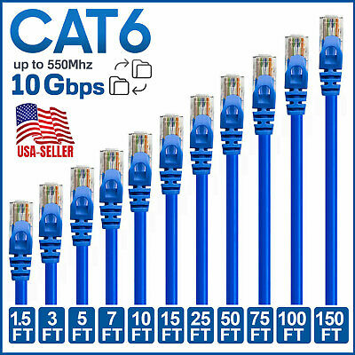 CAT 6 Ethernet Cable Lan Network CAT6 Internet Modem Blue RJ