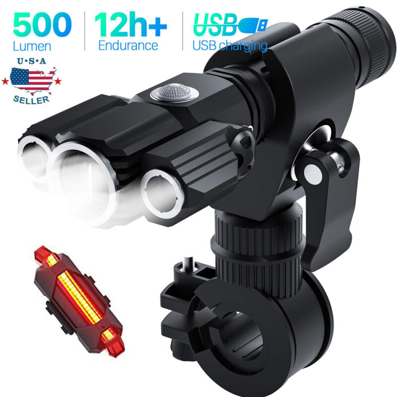 USB Rechargeable LED Bicycle Headlight Bike Head Light Front Lamp Set Cycling US