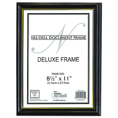 Nudell Deluxe Wood Document Frame Plastic Face 8-1/2 x 11 Black -