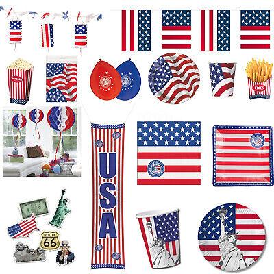 U.S.A. Geburtstag Party - USA Fest Feier Amerika Teller Becher Servietten Deko ()