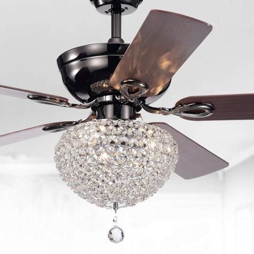 Details About Tiffany Ceiling Fan 52 3 Light Black Metal Housing Crystal Shade Basket Lamps