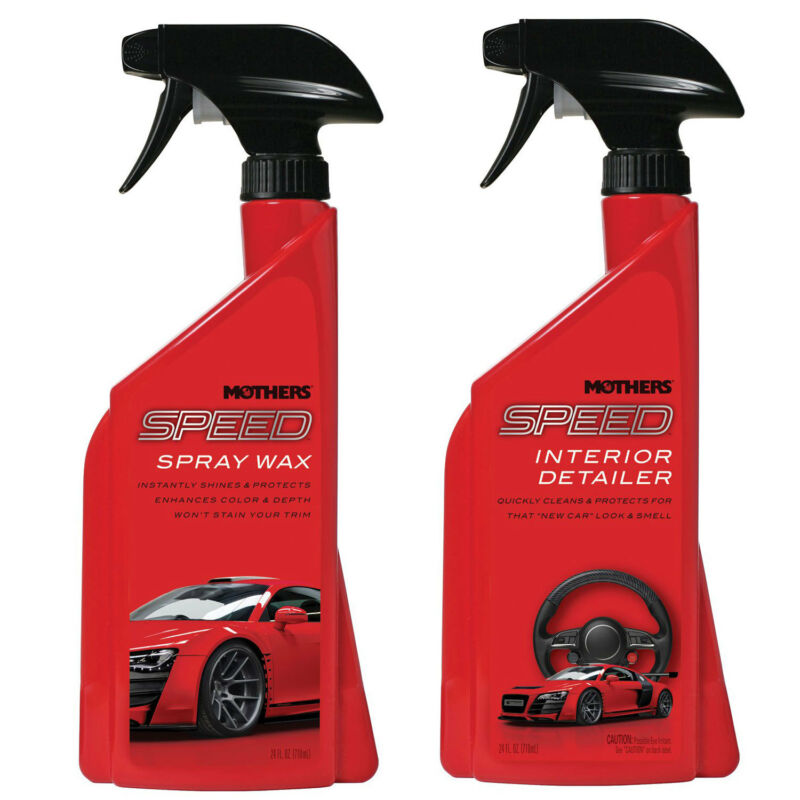 Mothers Polish 24 Oz Speed Spray Exterior Wax + 24 Ounce Car Interior Detailer