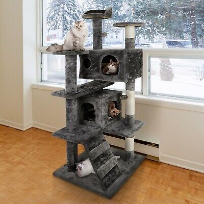 """52"""" Cat Tree Activity Tower Pet Kitty Furniture with Scratching Posts  Ladders"""