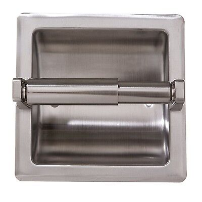 Recessed Toilet Paper Holder with Stainless Steel Construction – Satin Nickel Bath
