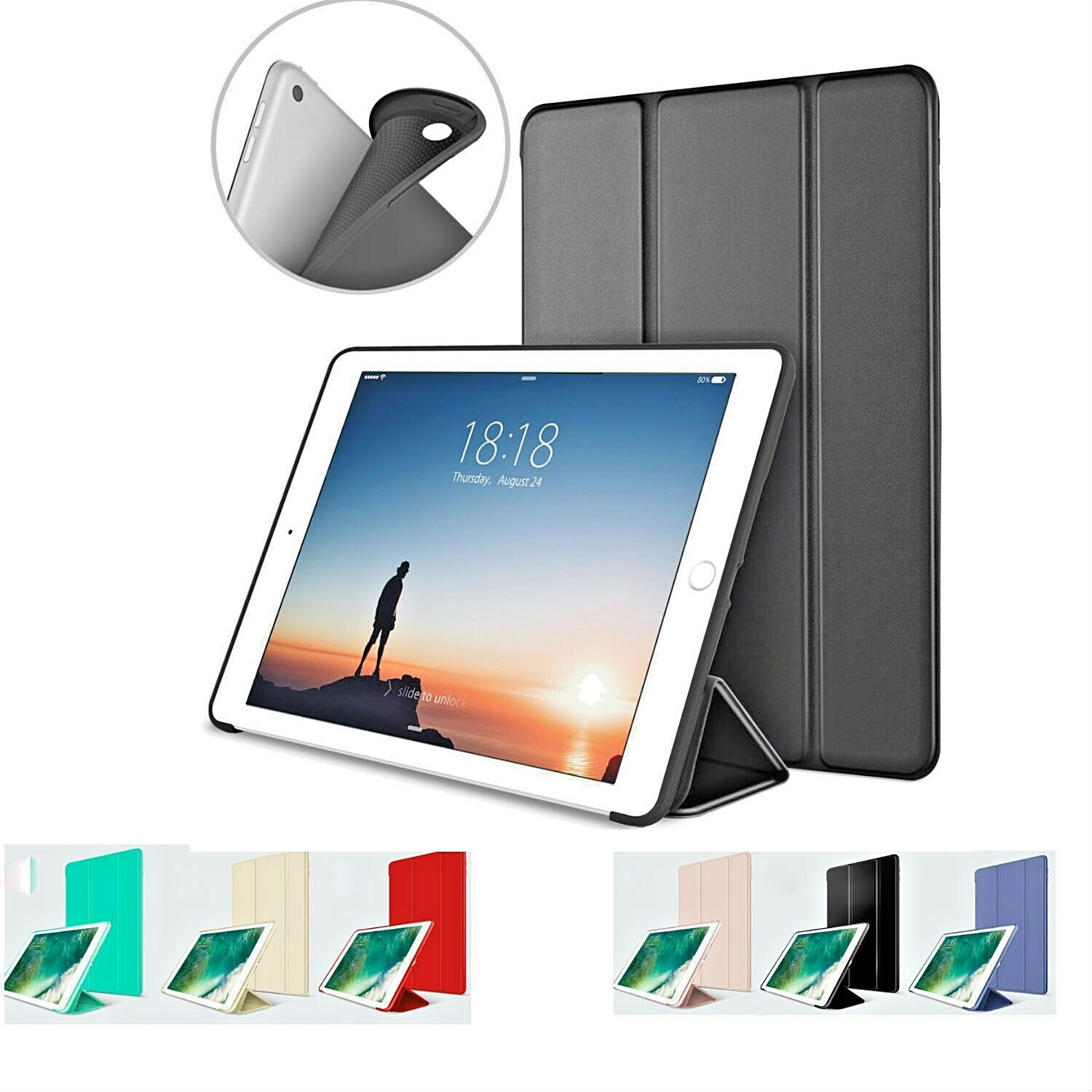 iPad 6th Generation 2018 9.7 Slim Magnetic Silicone Smart Co