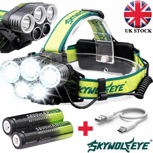 UK 90000LM 5X T6 LED Headlamp Headlight Rechargeable Light Flashlight Head Torch