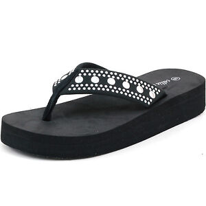 Womens Platform Sandals Flip Flops Wedgge Heel Studded Straps Super Soft Thongs