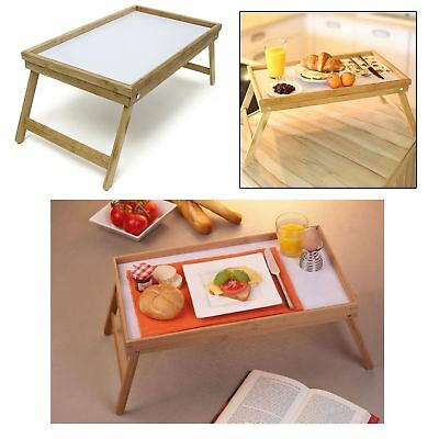 Large Bamboo Wooden Serving Bed Breakfast Lap Food Dinner Table Tray Folding Leg