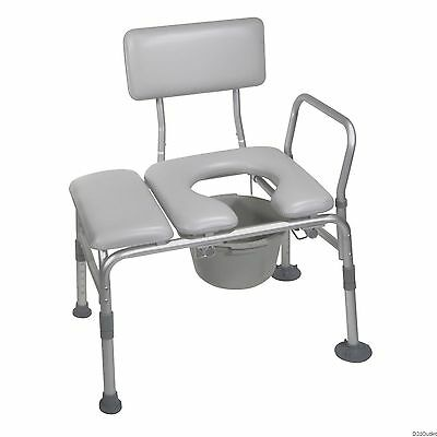 Handicap Padded Commode Seat Medical Transfer Bench Toilet Bathroom Shower Tub