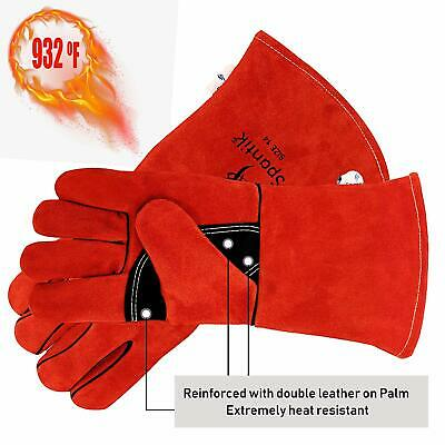 Genuine Cowhide Leather Welding Gloves Heat Fire Resistant