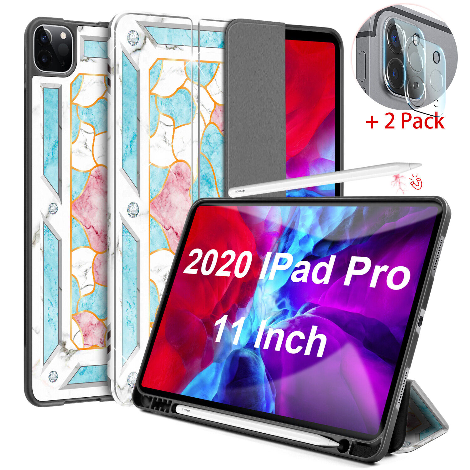 """For iPad Pro 11"""" 12.9"""" 2020 Case Stand Pencil Holder Marble"""