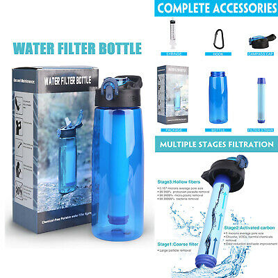 650ML Outdoor Cycling Water Filter Bottles Purifier 3-Stage