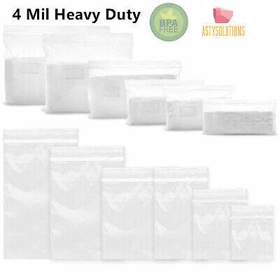 Clear 4 Mil Heavy Duty Reclosable Zip Plastic Lock Poly Bags Jewelry Zipper Bags