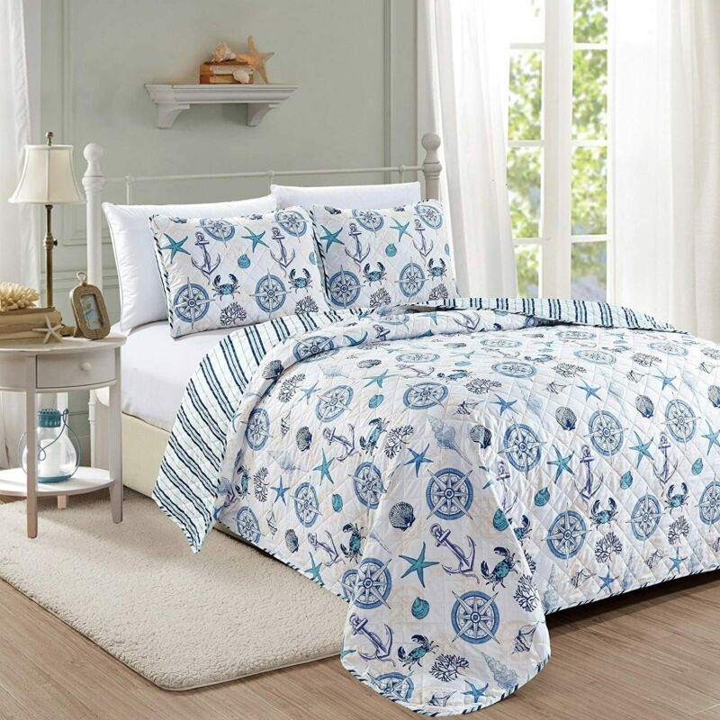 Great Bay Home Azure Coastal Collection 3 Piece Quilt Set with Shams. Reversible
