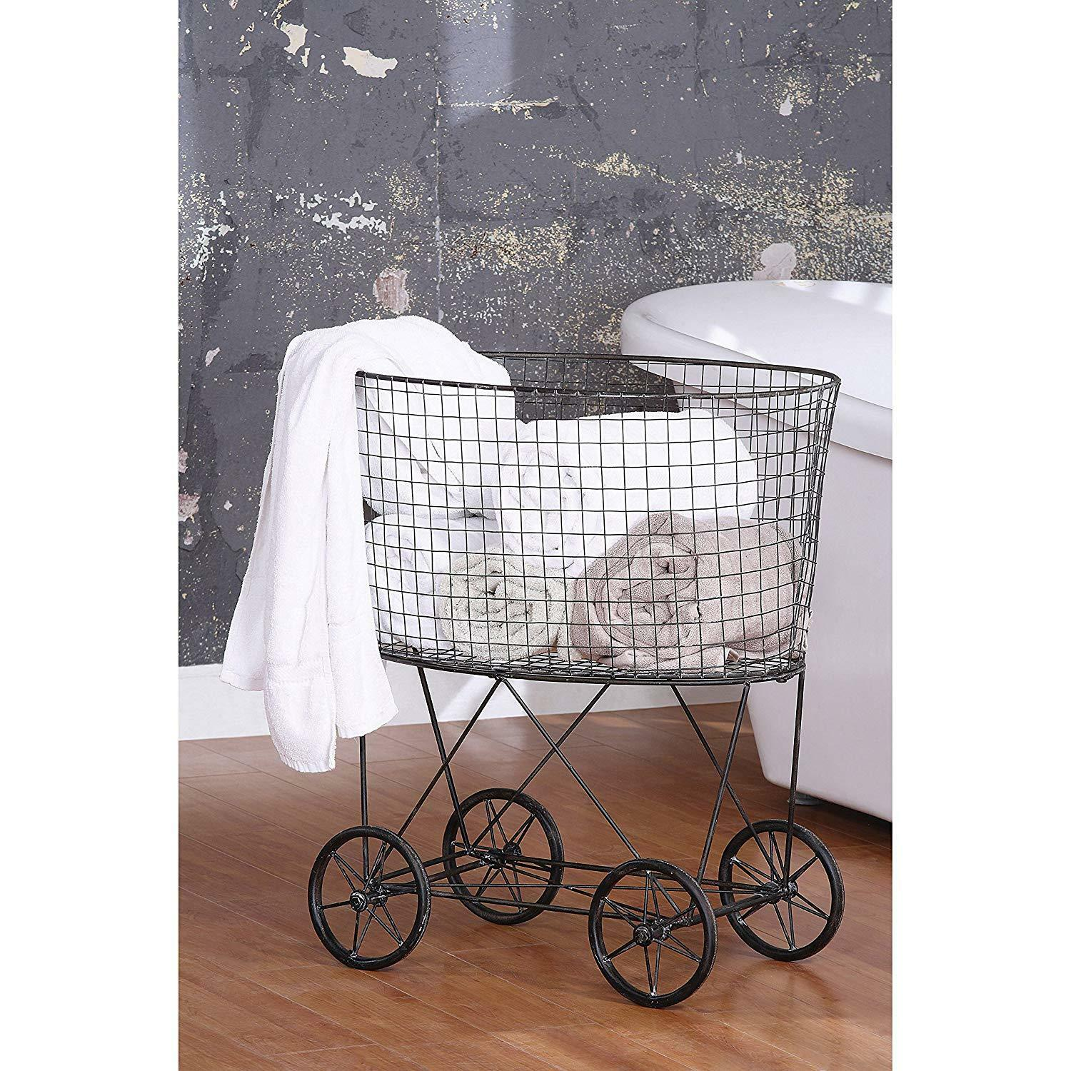 French Vintage Metal Laundry Basket With Wheels Rolling Bin