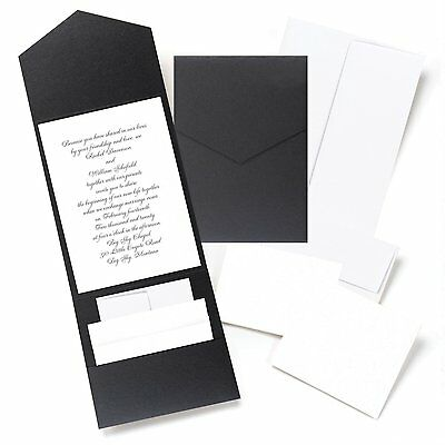 Hortense B Hewitt Black Shimmer, Pocket Invitation Kit 10719 New