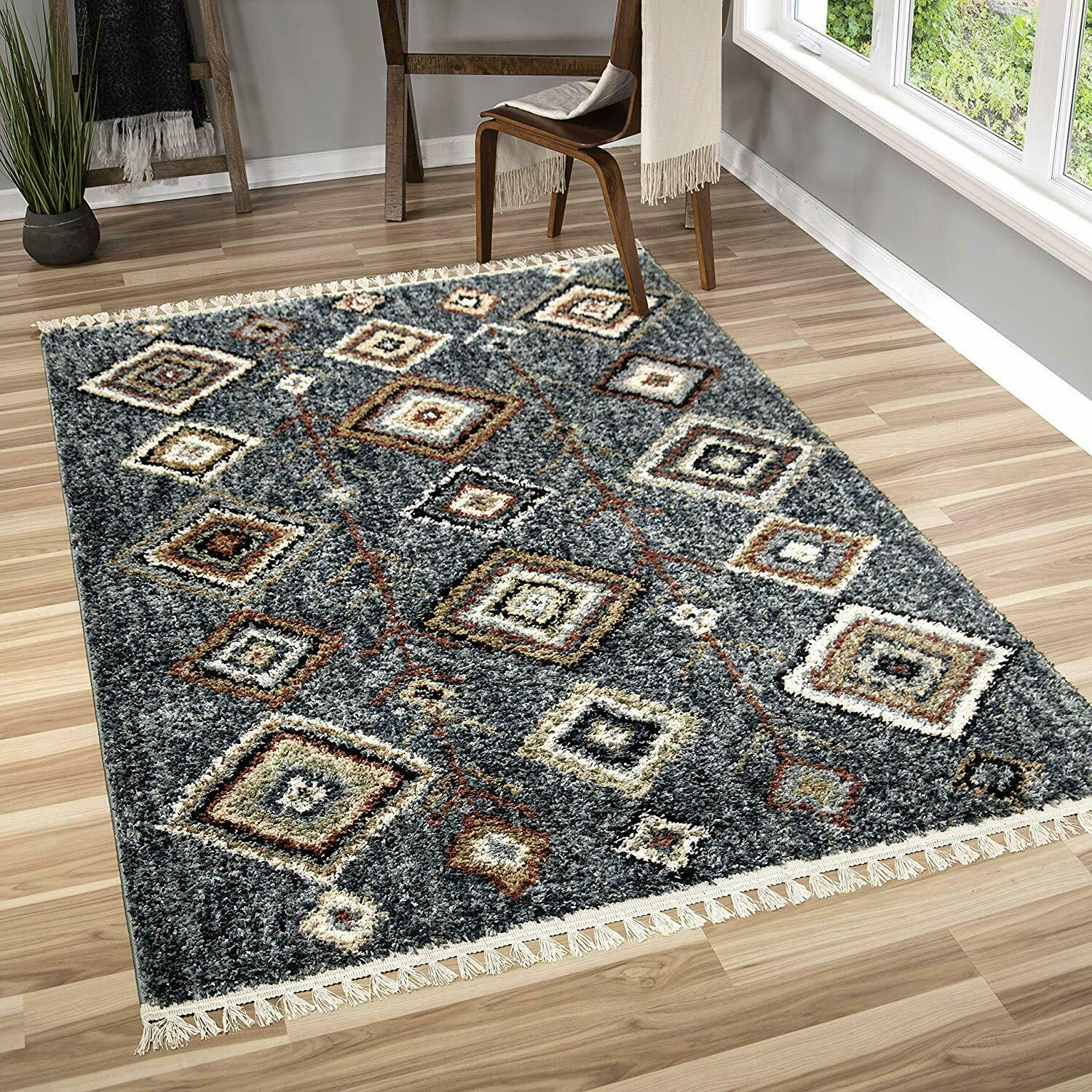 Details About Rugs Area Rugs Carpets 8x10 Rug Floor Modern Bedroom Blue Large Living Room Rugs