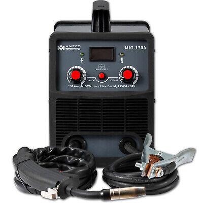 Amico Mig-130 Amp Flux Core Gasless Welder 115230v Dual Voltage Welding New