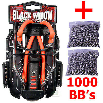"RED Barnett BLACK WIDOW Powerful Hunting Slingshot Catapult + 1000 x 1/4"" BB's"