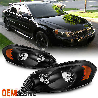 Fit 06-13 Chevy Impala/Monte Carlo Black Replacement Headlights Headlamps L+R