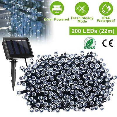 72Ft 200 LED Solar String Lights Copper Wire Starry Rope Fairy Tree Lights US ()