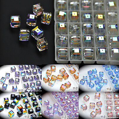 - #5601 authentic Swarovski Crystal 6mm Cube Square Beads AB coating pick colors
