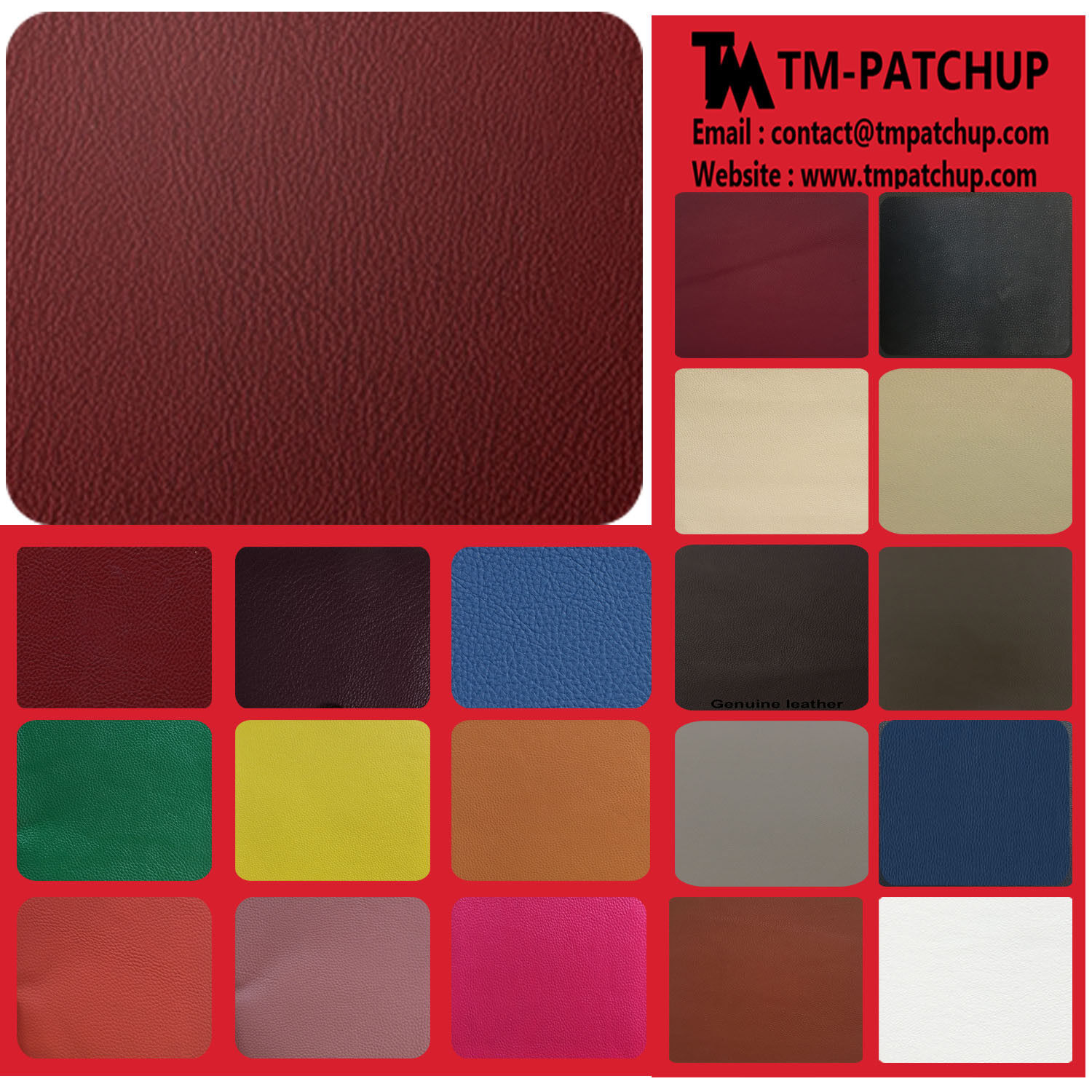 GENUINE RED WINE LEATHER CHAIR REPAIR KIT MULTI SIZE - 3 DAY