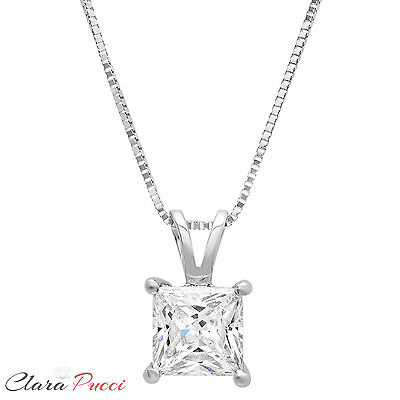 1.0Ct Princess Cut 14K White Gold Solitaire Pendant Necklace Box With 16
