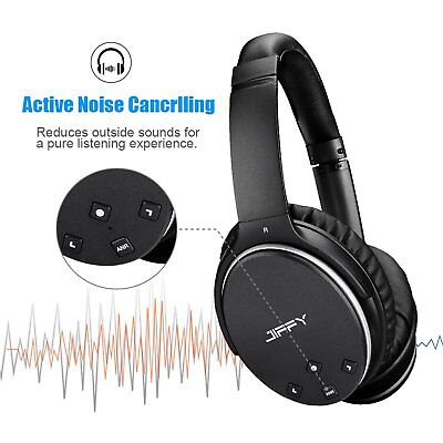 Active Noise Cancelling Bluetooth Wireless Headphone W  Built In Mic Over Ear