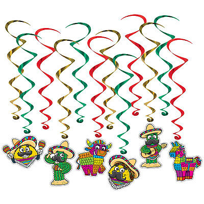 12 Fiesta Whirls Hanging Decorations Swirls Cinco de Mayo Mexican Birthday Party