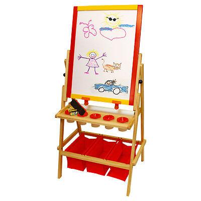 Children's Paint & Drawing Kids Art Easel Flip-Over Chalk & Dry Erase Board Bins - Kids Dry Erase Board